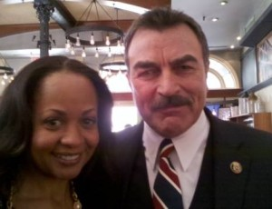 "With Tom Selleck, on location for my dramatic role/guest appearance on his ""Blue Bloods"" TV   show "" Feb 2010"