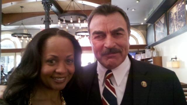 """With Tom Selleck, on location for my dramatic role/guest appearance on his """"Blue Bloods"""" TV   show """" Feb 2010"""