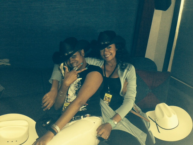 With fellow backup singer Diamond Burns for the Rob Thomas show at the Calgary Stampede, while on a quick break from my national tour with Steely Dan -Jul 11 2014