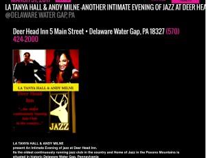 Just announced:La Tanya Hall & Andy Milne Return to Deer Head Inn