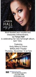 la Tanya Hall Birdland flyer SAY YES